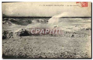Old Postcard The French Navy Sea Breaking
