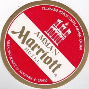 Jordan Amman Marriott Hotel Vintage Luggage Label lbl0670