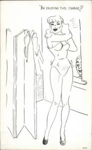 Peeping Tom Pervert Sexy Woman in Changing Room Postcard