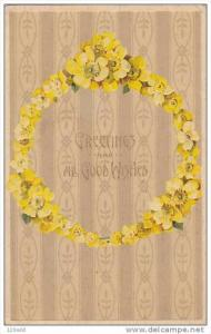 Wreath Of Yellow Flowers, Greetings And All Good Wishes, PU-1910