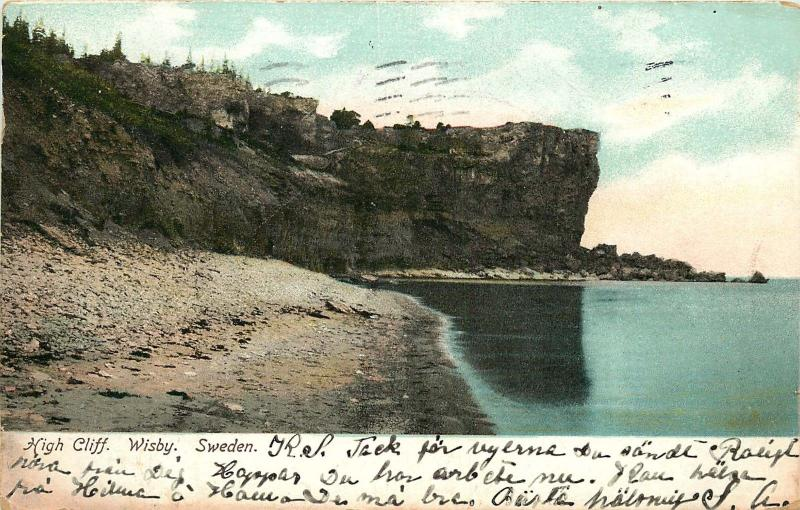 WISBY SWEDEN HIGH CLIFF POSTCARD c1906