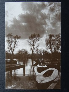 Norfolk NORWICH Moored Sailing Boats EVENTIDE c1910 RP Postcard by Davidson Bros
