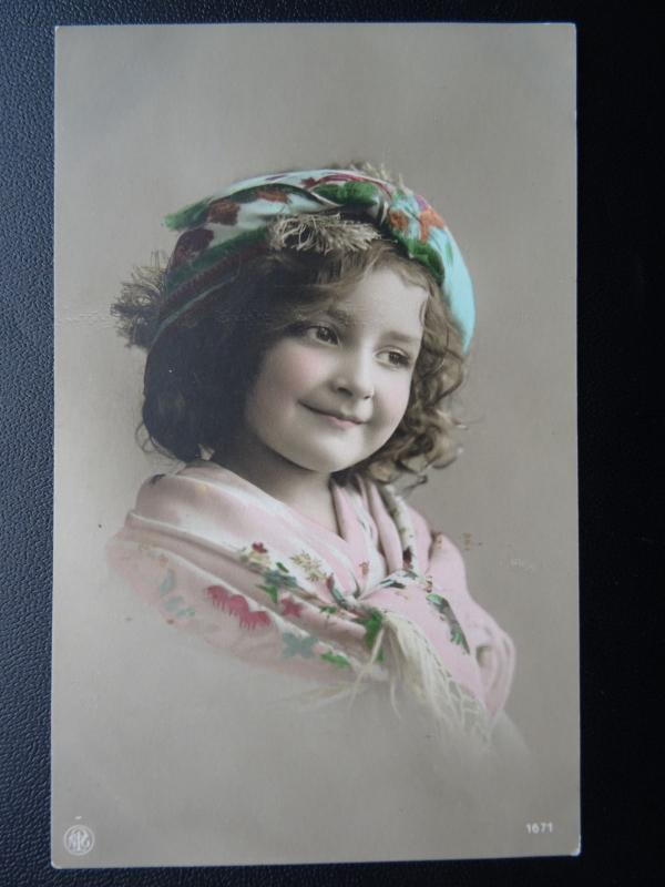 Child Portrait in Bohemian Dress c1909 Old RP Postcard by P.R.A. 1671