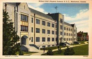 Kansas Manhattan Willard Hall Physical Science Kansas State College Curteich