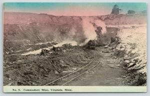 Virginia Minnesota~Commodore Mine~Workers & Machinery Down In~1912 Postcard