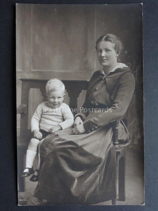 Studio Portrait of Mother and Young Boy - Old RP Postcard