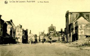 France - WWI, August 1914. Attack on Louvain, View of Marche