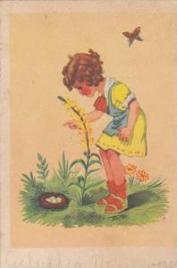 Brunette Girl Bending Over to Examine Eggs in Birds Nest in Grass 1929