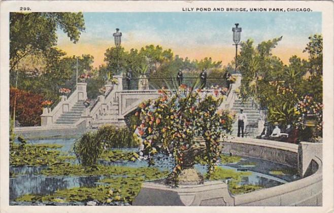 Illinois Chicago Lily Pond and Bridge In Union Park Curteich