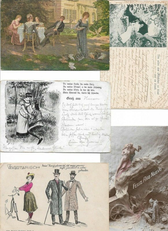 Artist Signed - Theme And People Postcard Lot of 10 01.11