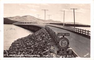 SANDPOINT ID WORLDS LONGEST ALL WOODEN BRIDGE~REAL PHOTO POSTCARD 1947 BPW SIGN