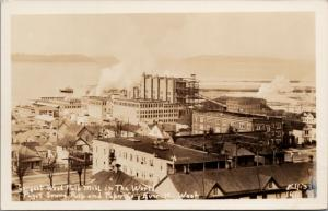 Largest Pulp Mill Puget Sound Pulp & Paper Co Everett WA Ellis RPPC Postcard E46