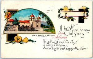 Santa Barbara Mission California Postcard Bright & Happy Christmas 1926 Cancel