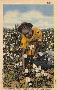 F53/ Black Americana Postcard Woman Linen Memphis Arkansas 12