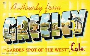 LP26  Large Letters Greeley  Colorado Vintage Postcard