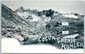 c1900s KOHLER COCOA CREAM Advertising Postcard Swiss Chocolate LAC NOIR Scene
