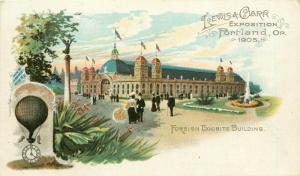 1905 Lewis & Clark Expo Postcard Portland OR Foreign Exhibits Building unposted