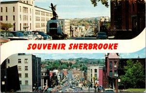 Sherbrooke Canada Souvenir Street Scenes Postcard unused 1950s