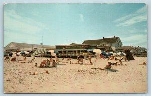 Postcard DE Rehoboth Beach Boardwalk View Petes Salt Water Taffy Shop c1950s T10