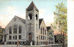 Huntington Indiana~Central Christian Church~Victorian Ladies on Sidewalk~c1910