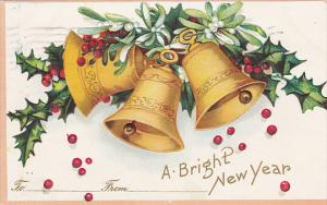 Clapsaddle New Year Gold Bells and Holly 1908