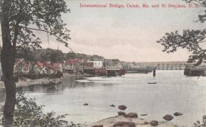 International Bridge Calais Maine to St Stephen NB New Brunswick Canada pm 1907