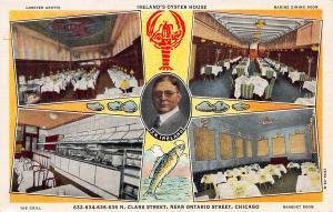 Ireland's Oyster House Restaurant, Chicago, Illinois, Early Postcard, Unused