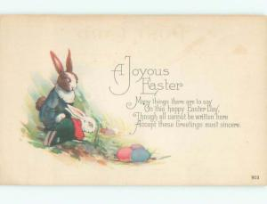 Pre-Linen Easter HUMANIZED BUNNY RABBIT DRESSED UP AB3424