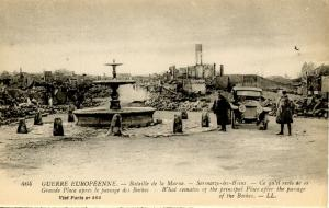 France - Marne, WWI. Ruins of the City Square (Military)