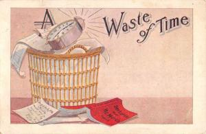 Waste Of Time Clock Book Comic Antique Postcard K7876369