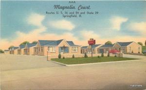 1940s Springfield Illinois Magnolia Court Roadside Linen Tichnor postcard 9249