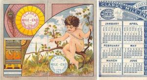 approx size inches = 3.25 x 4 Trade Card, Tradecard Calander 1881