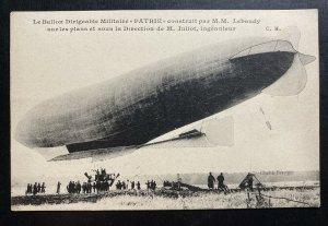 Mint France Postcard RPPC Dirigible Zeppelin Patrie Construction