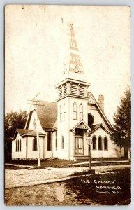 Hanover IL~United Methodist Episcopal Church~Star of David~Quatrefoil 1910 RPPC