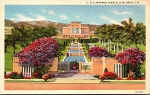Hawaii Oahu Laie L D S Mormon Temple Curteich