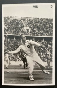Mint 1936 Germany Olympics Real Picture Postcard RPPC Stock javelin Thrower
