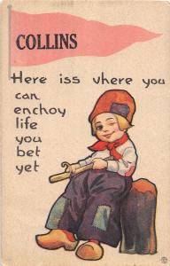 <A2> Michigan Mi PENNANT Postcard 1913 COLLINS Dutch Here Iss Vhere You Can