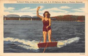 Western Kentucky female surfboard rider near US 68 Hwy Bridge antique pc Z43822