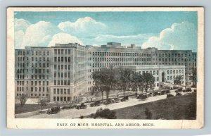 Ann Arbor MI, University Of Michigan Hospital, Vintage Michigan Postcard