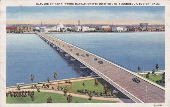 Massachusetts Boston Harvard Bridge Showing Massachusetts Institute Of Techno...