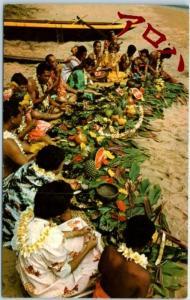 1960s HAWAII Postcard Hawaiian LUAU Feast Beach Scene Curteich Chrome Unused