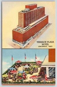 Cincinnati Ohio~Terrace Plaza Hotel Vignette~Roof Top Garden~ART DECO 1951 Linen
