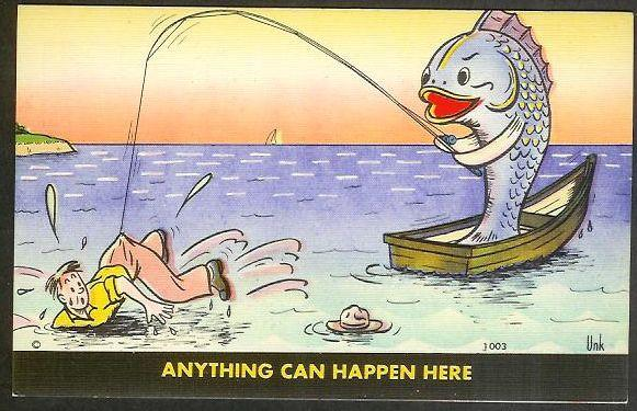 'Anything Can Happen Here' exaggerated fish unused c1940's
