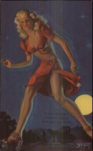 Sexy Pin-up Giant Woman on Roller Skates Zoe Mozert Arcade Mutoscope Card
