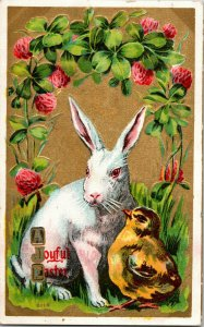Vintage 1911 Carte Postale Pâques Bunny & Poussin Winsch Doré & en Relief