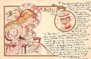 Art Nouveau, Berlin postal used unknown minimal corner wear, writing on front