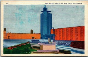 1934 Chicago World's Fair Postcard Great Court of the Hall of Science Linen