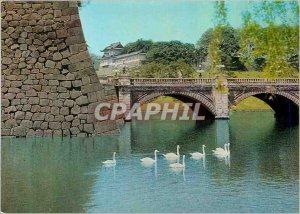 Modern Postcard Ancient Stone Walls Flanking Nijubashi Bridge Tokyo