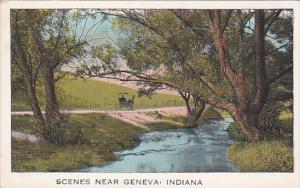 Horse-drawn carriage on dirt road by creek, Scenes near GENEVA, Indiana, 10-20s