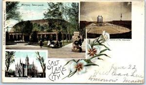 1905 Salt Lake City, Utah Postcard Multi-View Mormon Tabernacle & Assembly Hall